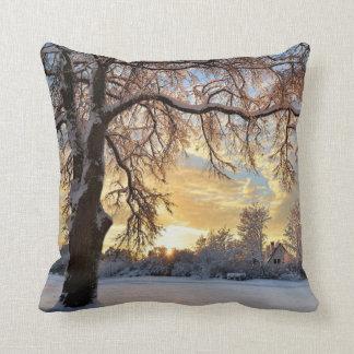 Winter Countryside In Latvia Cushion