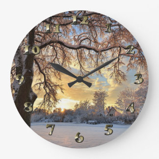 Winter Countryside In Latvia Large Clock