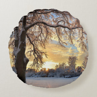 Winter Countryside In Latvia Round Cushion