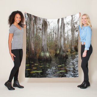 Winter Cypress Trees in Swamp Fleece Blanket