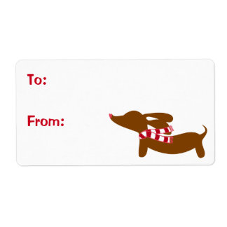 Winter Dachshund Holiday Gift Tag Sticky Labels