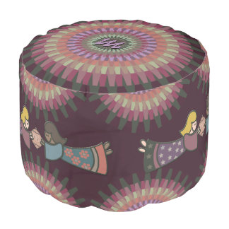 Winter Dahlia in Warm Muted Colors - Monogrammed Pouf