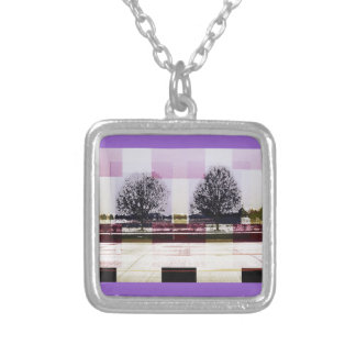 winter december january tree love square pendant necklace