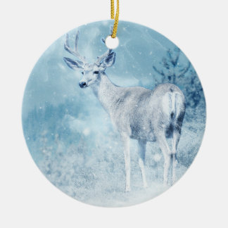 Winter Deer and Pine Trees Ceramic Ornament