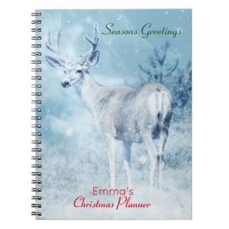 Winter Deer and Pine Trees Christmas Planner Notebook