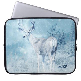 Winter Deer and Pine Trees Custom Laptop Sleeve