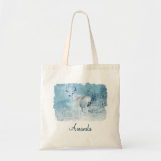 Winter Deer and Pine Trees Custom Tote Bag