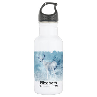 Winter Deer and Pine Trees Personalized 532 Ml Water Bottle