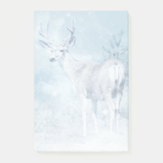 Winter Deer and Pine Trees Post-it Notes