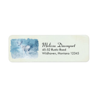 Winter Deer and Pine Trees Return Address Label
