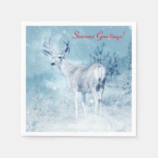 Winter Deer and Pine Trees Seasons Greetings Disposable Serviette