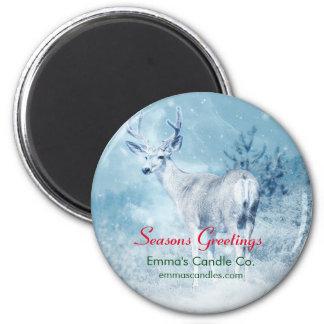 Winter Deer and Pine Trees Seasons Greetings Magnet