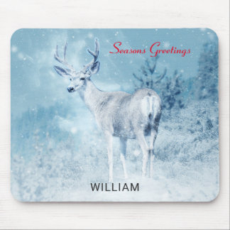 Winter Deer and Pine Trees Seasons Greetings Mouse Pad
