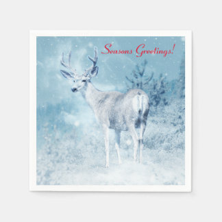 Winter Deer and Pine Trees Seasons Greetings Paper Napkin
