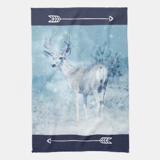 Winter Deer and Pine Trees Tea Towel