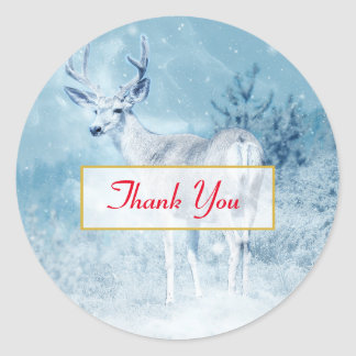 Winter Deer and Pine Trees Thank You Classic Round Sticker