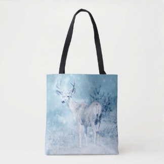 Winter Deer and Pine Trees Tote Bag