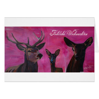 Winter Deer Family merry Christmas Card
