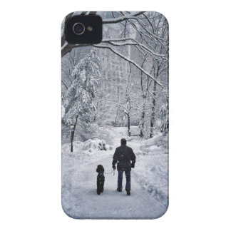 Winter Dog Walk iPhone 4 Cover