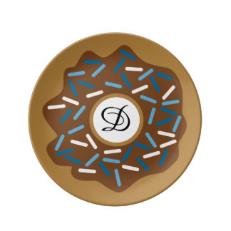 Winter Donuts with Blue Sprinkles Iced Chocolate Plate