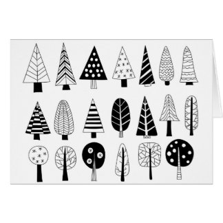Winter doodle trees greeting card