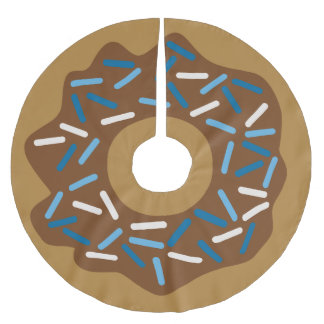 Winter Doughnuts with Blue Sprinkles Iced Brushed Polyester Tree Skirt