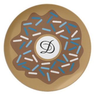 Winter Doughnuts with Blue Sprinkles Iced Plate