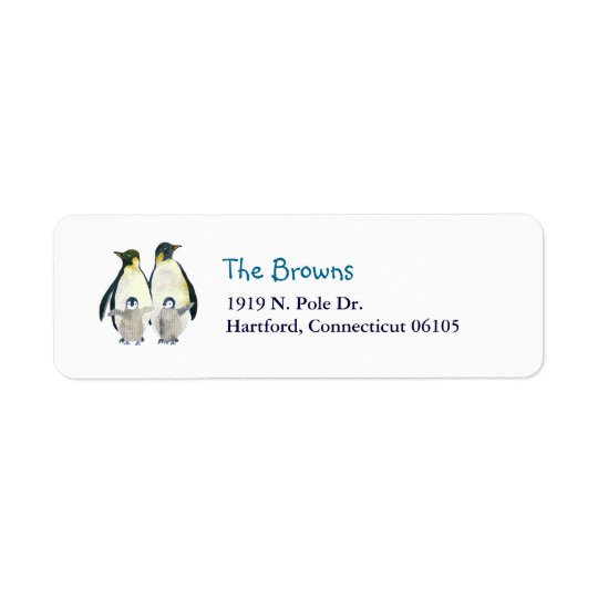 Winter Emperor Penguins Address Return Address Label