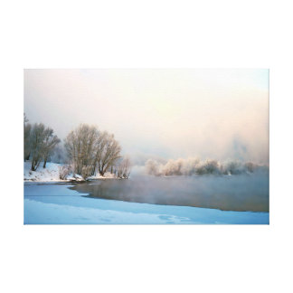 Winter evening on Yenisei Canvas Print