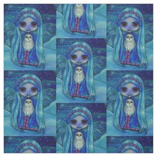 Winter Fairy Doll & Snowy Owl Friend Big Eyes Fabric