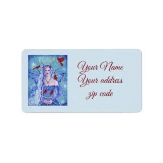 Winter fairy queen with cardinals address labels