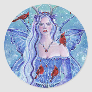 Winter fairy queen with cardinals by Renee Lavoie Classic Round Sticker