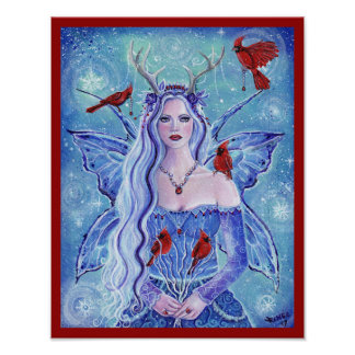 Winter fairy queen with cardinals by Renee Lavoie Poster