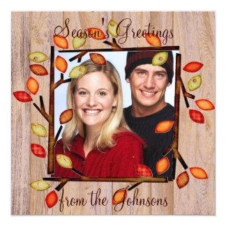 Winter fall seasonal custom holiday photo cards 13 cm x 13 cm square invitation card