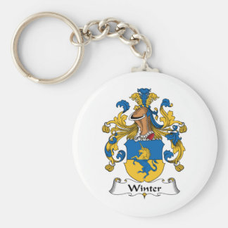 Winter Family Crest Basic Round Button Key Ring