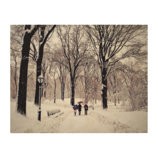 Winter Family Trip To Central Park Wood Wall Art