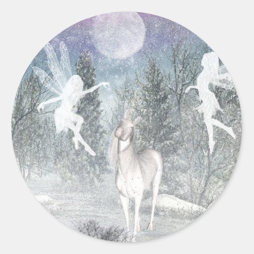Winter fantasy round stickers
