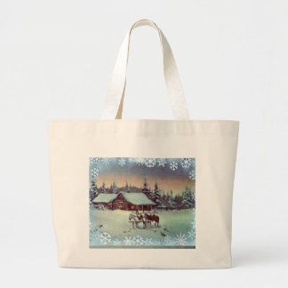 WINTER FARM  by SHARON SHARPE Large Tote Bag
