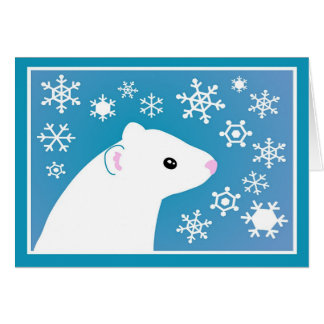 Winter ferret greetings card