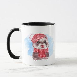 Winter ferret mug