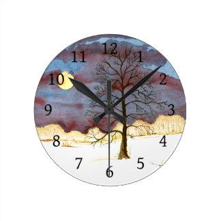 Winter Field Round Clock
