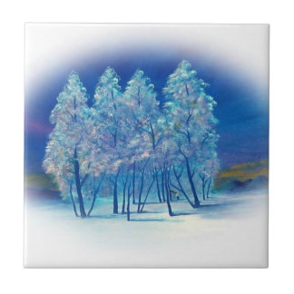 Winter Fir Trees Abstract Forest Artwork Small Square Tile