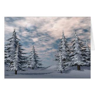 Winter fir trees landscape card
