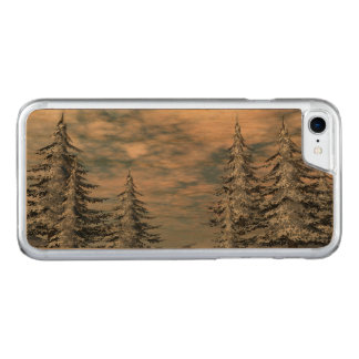 Winter fir trees landscape carved iPhone 7 case