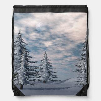 Winter fir trees landscape drawstring bag
