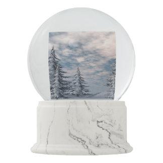 Winter fir trees landscape snow globes