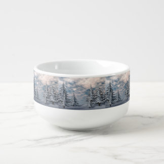 Winter fir trees landscape soup bowl with handle