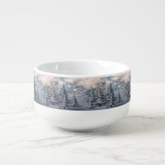 Winter fir trees landscape soup mug
