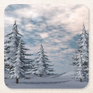 Winter fir trees landscape square paper coaster