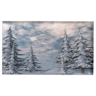 Winter fir trees landscape table number holder